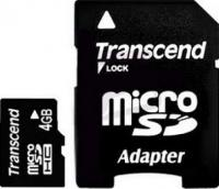Карта памяти Transcend microSDHC  4Gb Class 4 с адаптером